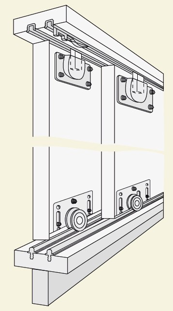 74 60kg Bottom Sliding Door Twin Track Kit